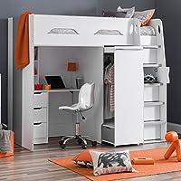 High Sleeper Storage Bed, Happy Beds Pegasus Wood Modern Desk Wardrobe Drawers Cupboards Loft Bunk