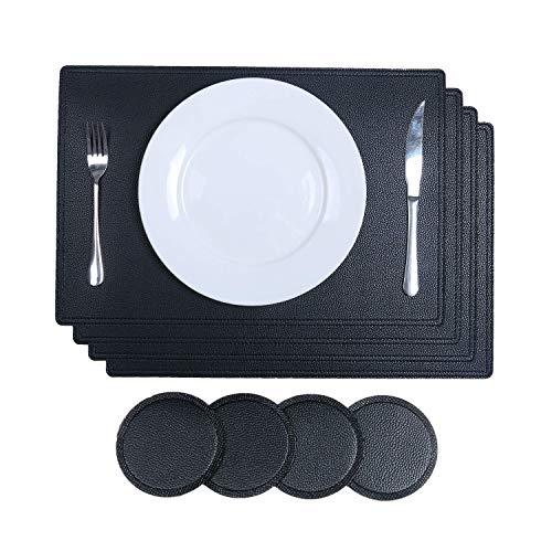 SHACOS PU Leder Platzsets und Untersetzer Set von 4 Schwarz Aus recyceltem Leder 4 Stück Platzsets und 4 Glasuntersetzer Abwaschbar Wasserdicht Tischsets 45 x 30cm -