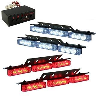 Aurnoc 36x LED Auto Notfall-Fahrzeug Deck Grill Stroboskop Warnlicht Auto Blinklicht - 1 Set mit 3 Blitzmodi