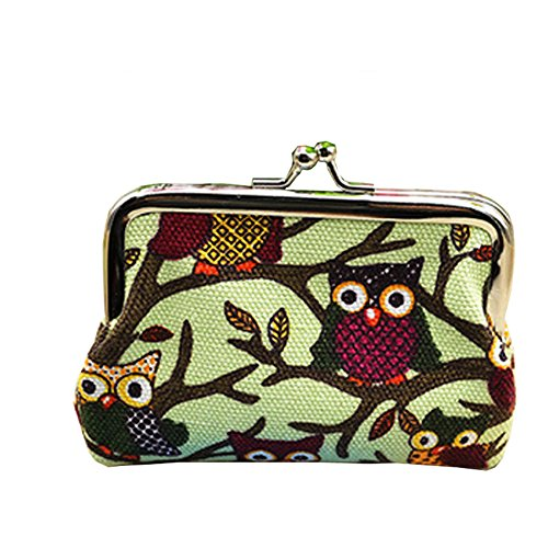 Daojian Mini Owl Canvas Purse Wallet Coin Bag Case vert