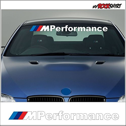 "Aufkleber-Kit \""BMW M PERFORMANCE 90 cm\"" Frontscheibe Aufkleber mit Montage Set inkl. \""Estrellina-Montage-Rakel®\"" & \""Estrellina-Glücksaufkleber®\"","