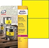 AVERY Zweckform L6130-20 Wetterfeste Folien-Etiketten (A4, 40 Stück, 210 x 148 mm, 20 Blatt) gelb