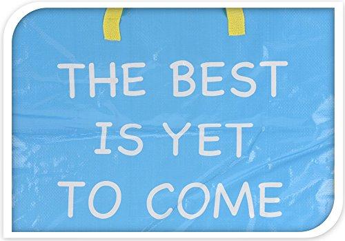 Extragroße Aufbewahrungstasche Riesentasche Wäschetasche Umzugstasche Jumbo Bag 90 Liter, Farbig mit Aufschrift (Orange) Hellblau