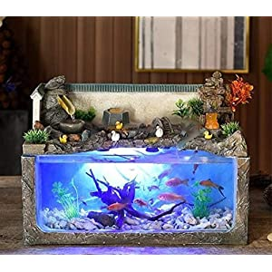 ZANGAO Ecological Fish Tank Desktop Home Fountain Landscape Aquarium Wind Water Wheel Ornaments Office Decorations Retro…