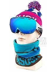 Bicicleta Invierno multifunción braga para cuello calentador de media cara máscara Snowboard invierno esquí Caps Sombreros al aire libre deporte gafas de esquí y patinaje ciclismo gafas (sombreros bufandas guantes 3piezas)