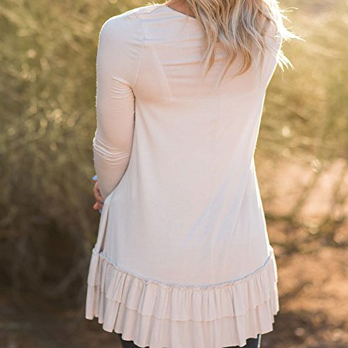 Vin beauty wlgreatsp Double Deck Ruffle Blouse à Manches Longues Décontracté Loose Fit O Neck Shirts Mini Dress white