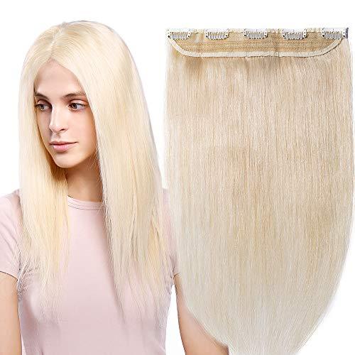 Extension clip capelli veri fascia unica one piece remy human hair lunga 55cm pesa 55g, 60 platino biondo