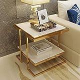 Nachttische Gold Edelstahl Gehärtetes Glas Mehrschichtig Offener Stilspeicher Sofa-Beistelltisch (Farbe : Weiß)