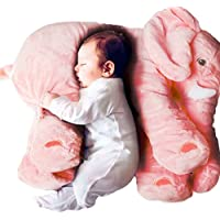 Kenmont elefante Cojín Dormido Animales elefante Almohada de algodón 100% novedad de peluche de juguete blando para decoración, regalos para niños niñito (Rosado)