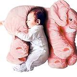 Jysport - Peluche relleno en forma de elefante, también sirve como almohada para bebé, 100 % algodón, Rosa, Big