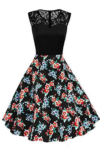 Axoe Damen Rockabilly Kleid Retro 50er Jahre Pin up A-Linie Schwarz Gr.44