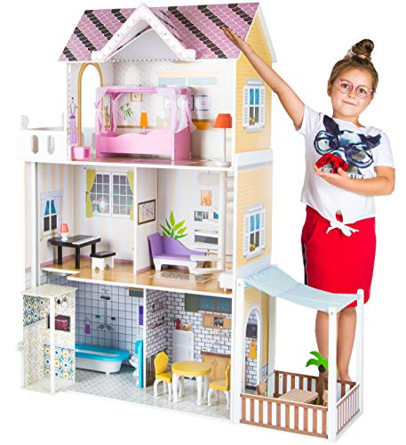 KinderplayGreen Puppenhaus, Puppenvilla Puppenhaus Barbiehaus Traumhaus Holz Puppenstube GS0021 LED-Licht Zubehör