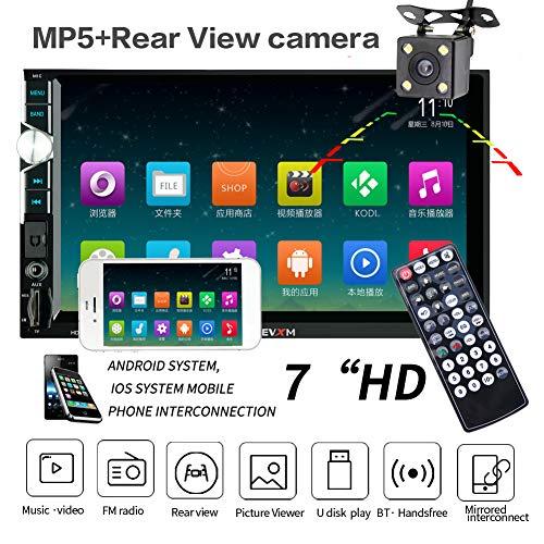 LWTOP Stéréo de Voiture Double DIN, 7 Pouces écran Tactile dans Dash Voiture récepteur Radio Audio Lecteur vidéo Prend en Charge Bluetooth/TF/USB/AUX/avec caméra de recul,HE999withCamera