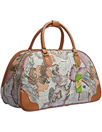 Vinhana Woman Travel Duffel Bag Faux Leather(World Map Printed)