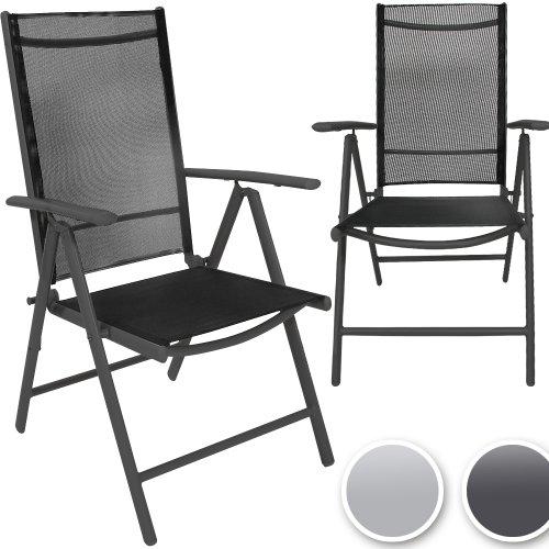 Miadomodo sedie da giardino esterno in alluminio ca. 55 x 67 x 110 cm pieghevoli colore grigio scuro set da 2