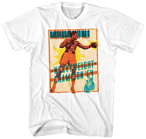 Muhammad Ali- Heavyweight Stamp T-Shirt S - Weiß (T-shirt Heavyweight American)