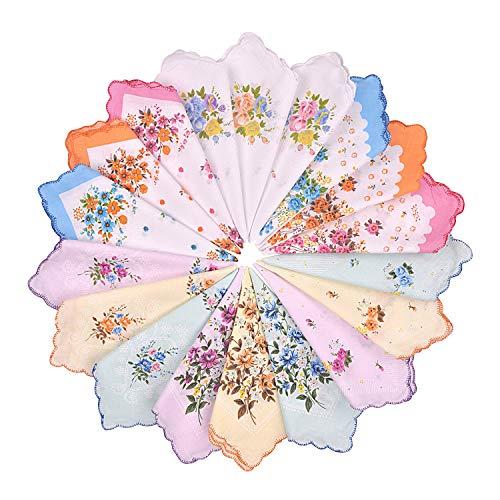 Milesky Damen Blumen Taschentücher 12 Stück 29x29cm YH01 -