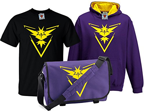 Reality Glitch Kinder Deluxe Team Instinct T-Shirt, Contrast Kapuzenpullover & Messenger Bag Set (Mehrfarbig, 7-8 Years)
