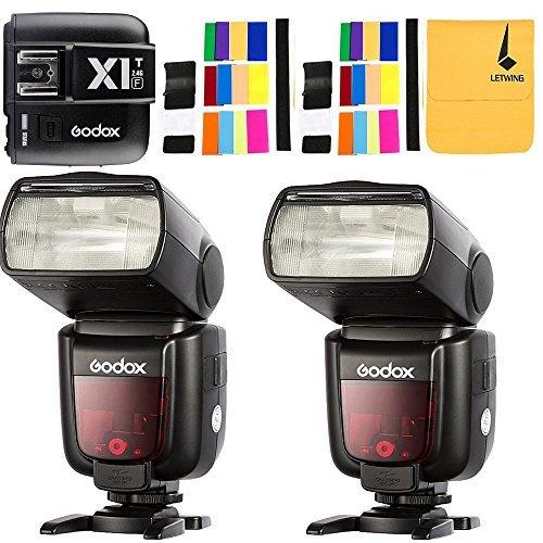Godox 2*TT685F GN60 2.4G TTL HSS 1/8000s + Godox X1T-F TTL Flash Trigger para Fujifilm Camera Fuji X-Pro1 x-t20 x-t2 x-t10 X-T1 X-Pro1 X-E1 x-a3 X100 F X100T Camara +Letwing Regalo (2*TT685F+X1T-F)