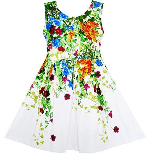 Sunboree Mädchen Kleid Elegant Prinzessin Blühend Rebe Efeu Blume Blätter Gr.116