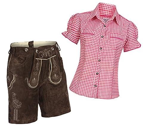 Damen Set Trachten Lederhose Shorts dunkelbraun kurz + Träger +
