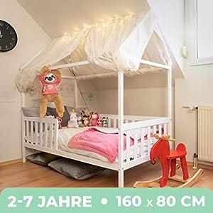 Alcube Hausbett 160×80 cm – stabiles Kinderbett mit wechselbarem Rausfallschutz und Lattenrost – weiß lackiert – aus…