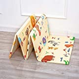 TIB ® PVC Foldable Alphabet Playmat Waterproof, Anti Skid, Double Sided Baby Crawling Floor Mat for Kids (Multicolour, 6…