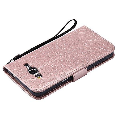 Für Samsung Galaxy G530 Fall, Prägen Sonnenblume Magnetische Muster Premium Soft PU Leder Brieftasche Stand Case Cover mit Lanyard & Halter & Card Slots ( Color : Red ) Rose Gold