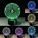 WAOBE Creative Footbal 3D Effekt LED Illusion Lampen, Farbe blinkt Kunst Skulptur Lichter Schlafzimmer Schreibtisch Tisch Nacht... , Touch and Remote