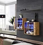 Juub Sideboard Kommode Schrank Anrichte Switch III Wotan Hochglanz PVC Push-Click LED - Switch III WTG