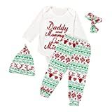 Culater Newborn Baby Boys Girls Romper Pants Hat 4PCS Outfits Set Christmas Gift (70)