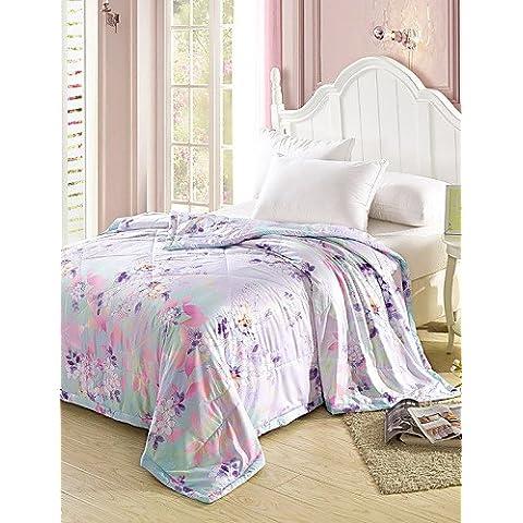 YangR*Tencel condizionamento estivo Quilt Quilt Stampa reattiva Estate Cool Quilt Set biancheria da letto