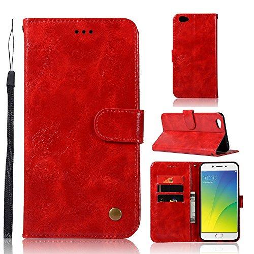 kelman Hülle für Oppo R9s Plus/Oppo F3 Plus Hülle Schutzhülle PU Leder + Soft Silikon TPU Innere Schale Brieftasche Flip Handyhülle - [JX05/Rot]