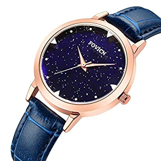 SUNWH-Frauen-EU-Mode-Einfache-Uhr-Ultradnne-Sternenhimmel-Quarz-Analog-Lederband-Damen-Armbanduhr