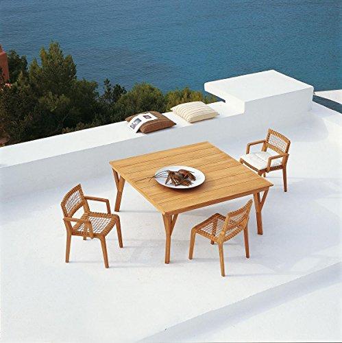 Dafnedesign. COM - Table de Jardin en Teck Table Synthesis carré cm 150 x 150 de Teck - Dimensions cm 150 x 150 H73