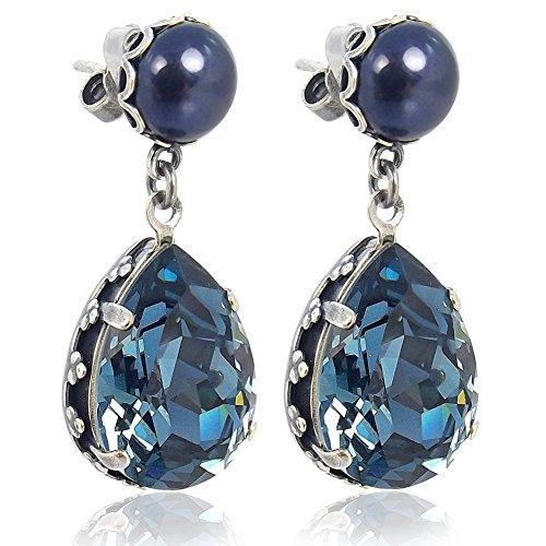Jugendstil Ohrringe Kristallen von Swarovski® Silber Blau NOBEL SCHMUCK