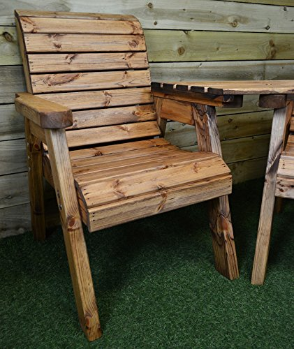 Charles Taylor Trading Hand Made 3 Seater Chunky Rustic Wooden Garden Furniture Companion Set with tray