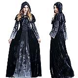GYH Esqueleto De Las Mujeres De Impresión Negro Bruja Disfraz De Halloween Señoras Classic Vampiress Disfraz De Disfraces De,XL