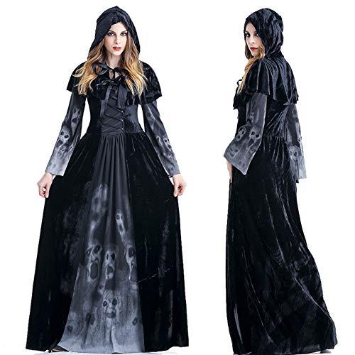 GYH Frauen Cosplay Satan Hexe Vampir Kostüm Halloween Party Schwarz,XL