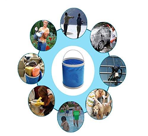 Cubo plegable Cubeta de agua portátil Multiuso - Apto para acampar, Deportes al aire libre, Uso doméstico, Cubo de agua para lavado de autos Capacidad de 11L - Ligero y fácil de transportar 5