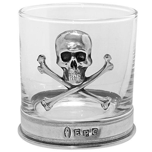 English Pewter Company TUM07 - De cristal para whisky, diseño con huesos cruzados