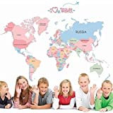 Wallpark Early Education Cartoon Alphabet English World Map Removable Wall Sticker Decal, Children Kids Baby Home Room Nursery DIY Decorative Adhesive Art Wall Mural