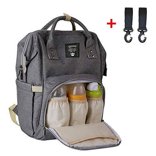 Baby Wickelrucksack Wickeltasche Multifunktionale Oxford Wasserdichter Mom Tasche mit große Kapazität Babytasche für Reise Grau