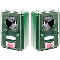 2 x Sparpack - VOSS Sonic 2000 | Ultraschall Abwehr & Tier-Vertreiber mit Solar, Blitz, Akku | Katzenschreck, Hundeschreck, Marderschreck | Deutscher Hersteller