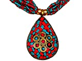 #10: Purpledip Beaded Necklace with Mosaic Work Brass pendant and beads earrings (30022)