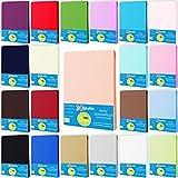 Style Heim Jersey Spannbettlaken Spannbetttuch 100% Baumwolle 120x200-130x200 cm Farbe Lachs