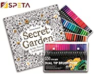 SPETA Bundle of 60 Vibrant Water Colors Markers with Coloring Book For Kids & Adults-96 Pages of The Secre