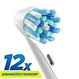12 Stk. Cross Action Ersatzbürstenköpfe kompatibel mit Oral-B elektrischen Zahnbürstengriffen.