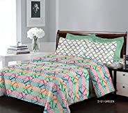 Bombay Dyeing Breeze Collection Flat Double Bedsheet with 2 Pillow Cover, Green, 224 x 254 cm
