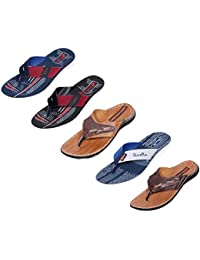 Indistar Men Flip Flop House Slipper And Sandal-White/Tan/Brown/White/Red/White/Blue- Pack Of 5 Pairs